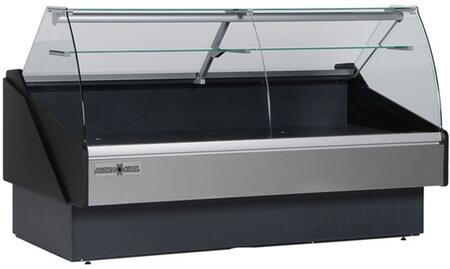 Hydra-Kool KPMCGxS Curved Glass Deli Case with cu. ft. Capacity, HP, Tilt Out Curved Tempered Front Glass, Rear Tempered Sliding Doors, in Black