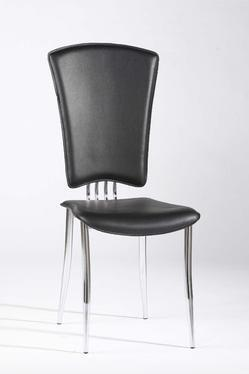 Chintaly Tracy Collection TRACY-SC Modern Side Chair with Chrome Tapered Legs and PVC Upholstery in