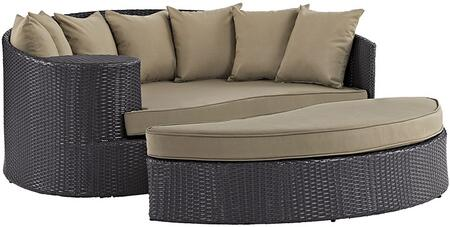 "Modway Convene Collection EEI-2176-EXP- 79"" Outdoor Patio Daybed and Ottoman with Fabric Cushion, Powder Coated Aluminum Tube Frame, UV and Water Resistant in Espresso and"
