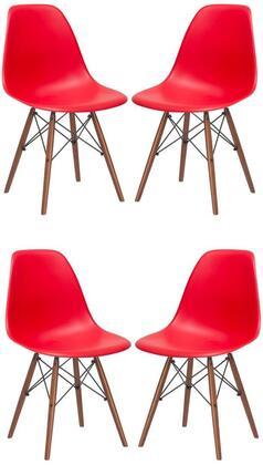 EdgeMod EM105WALREDX4 Vortex Series Modern Wood Frame Dining Room Chair