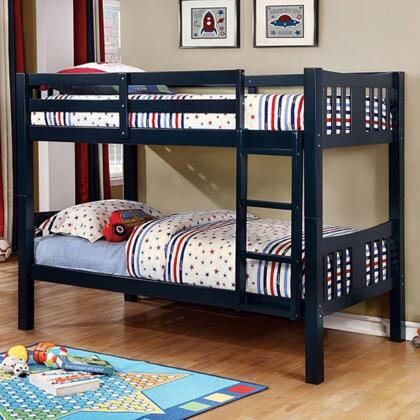 Furniture of America Cameron Collection Bunk Bed with 10 PC Slats Top/Bottom, Front Access Fixed Ladder, Solid Wood and Wood Veneer Construction
