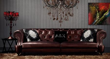 VIG Furniture VGUNAX029 A&X Chesterfield Series Stationary Leather Sofa