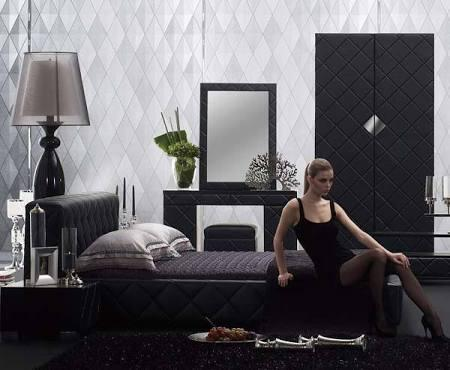 VIG Furniture VGSLE-SERENADE Modrest Serenade Bed with Crosshatch Design, Padded Tufted Headboard and Leatherette Upholstery in Black