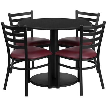 "Flash Furniture RSRBX00X-GG 36"" Round Laminate Table Set with 4 Ladder Back Metal Chairs with Burgundy Vinyl Seat, Commercial Design, and Heavy Duty Construction"