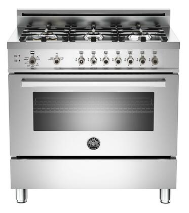 "Bertazzoni PRO366GASXLP 36"" Professional Series Gas Freestanding Range with Sealed Burner Cooktop, 4.4 cu. ft. Primary Oven Capacity, Storage in Stainless Steel"