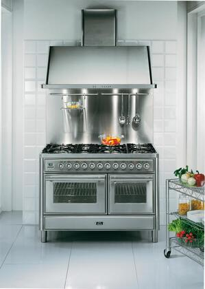 Ilve UMT120S5MPI Majestic Techno Series Dual Fuel Freestanding Range with Sealed Burner Cooktop, 3.55 cu. ft. Primary Oven Capacity, Warming in Stainless Steel