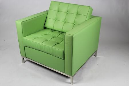 Fine Mod Imports FMI2201GREEN Button Series Leather Armchair with Stainless Steel Frame in Green