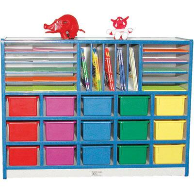 Mahar N60302 15 Opening Cubbie Unit With Letter Slots with Trays in Gray Nebula Finish with Edge Color