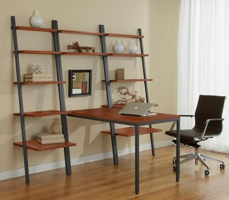 Unique Furniture 1C100015P Leaning Ladder Desk with Bookcase