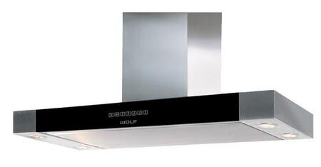 Wolf CTEWHXXX Low-profile Wall Mounted Chimney Hood with Heat Sentry, Delay-off, Dishwasher-safe Aluminium Mesh Filter, Filter Clean Reminder, and Halogen Lighting, in Stainless Steel with Black Glass Front Panel
