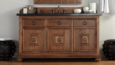 """James Martin Mykonos 550V60SCING 60"""" Single Vanity with 3 Shelves, 3 Doors, 3 Drawers, 1 Sink Included, Granite Top, Antique Pewter Hardware, Kiln-Dried Hardwood with 100% Solid Wood Carvings in Cinnamon Color"""