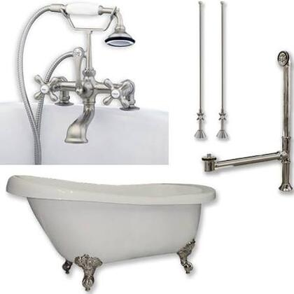 "Cambridge ST67463D2PKG Acrylic Slipper Bathtub 67"" x 30"" with 7"" Deck Mount Faucet Drillings and British Telephone Style Faucet Complete Plumbing Package"
