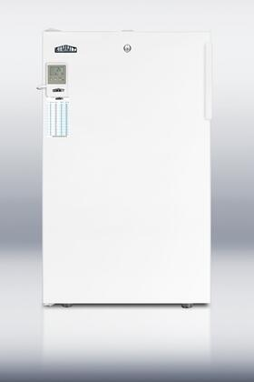 "Summit FS407LBI7MEDD 20"" Medical Use Freezer with 2.8 cu. ft. Capacity, Factory Installed Lock, High Temperature Alarm, Digital Thermostat, and 4 Pull-out Drawers in White: X Hinge"