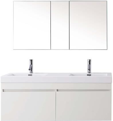 "Virtu USA JD-50355-XX Zuri 55"" Double Sink Bathroom Vaniety with Polymarble Top and Integrated Basin, 2 Large Drawers, PS-103 Faucets and in X Finish"
