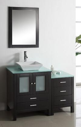 "Virtu USA Brentford 46"" MS-4446-x-ES Single Sink Bathroom Vanity in Espresso Finish with x Countertop, Matching Framed Mirror, 2 Doors, 5 Doweled Drawers and Brushed Nickel Hardware"
