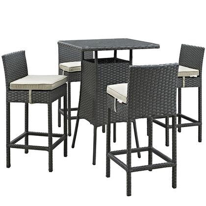 Modway Sojourn Collection EEI-1967-CHC- 5-Piece Outdoor Patio Sunbrella Pub Set with 4 Barstools and Small Bar Table in