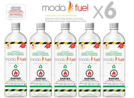 Moda Flame XQTF X One Liter Bottles of Bio-ethanol Indoor Fireplace Fuel