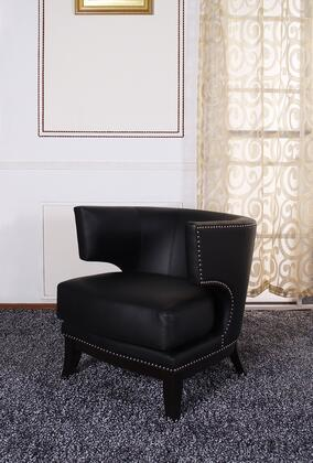 Armen Living LC734CLBL Faux Leather Armchair with Wood Frame