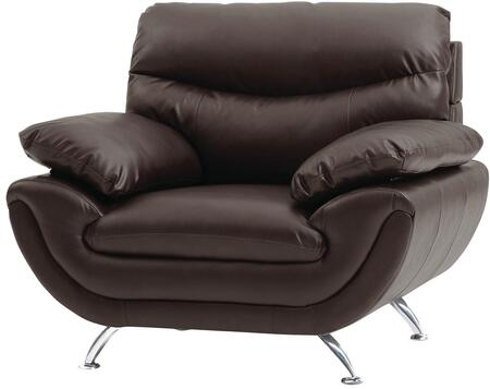 Glory Furniture G433C Faux Leather Armchair with Metal Frame in Cappuccino
