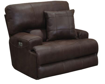 """Catnapper Monaco Collection 62180-7- 50"""" Power Lay Flat Recliner with Power Headrest, Suede Fabric Upholstery, Decorative Luggage Stitching and Toss Pillow in"""