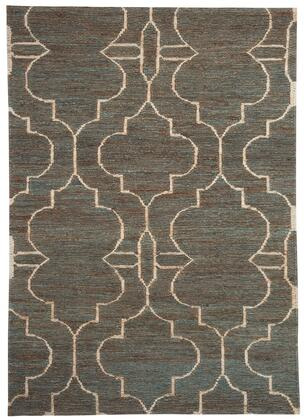 """Milo Italia Kennedy RG440456TM """" x """" Size Rug with Moroccan Trellis Pattern, Gate Design, Hand-Woven Made, Jute Material and Spot Clean Only in Teal Color"""
