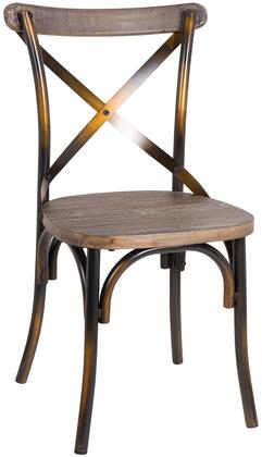 "Acme Furniture Zaire Collection 19"" Side Chair with ""X"" Metal Backrest, Wooden Seat, Steel and Solid Chinese Fir Wood Construction in"