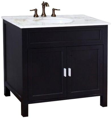"Bellaterra Home 600168-36 36"" Single Sink Vanity, with Marble Top, Wood Construction, and Predrilled Holes"