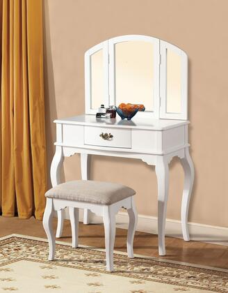 """Acme Furniture Maren 90 32"""" Vanity and Stool with 1 Decorative Hardware Drawer, Tapered Legs and Cushioned Stool Seat in"""