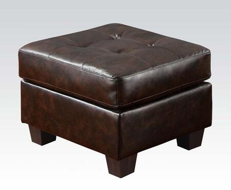 "Acme Furniture Platinum 28"" Ottoman with Tufted Cushion, Wood Tapered Legs and Bonded Leather Upholstery in"