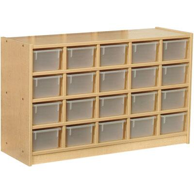 Mahar M60100 20 Tray Cubbie Unit without Trays in Maple Finish with Edge Color
