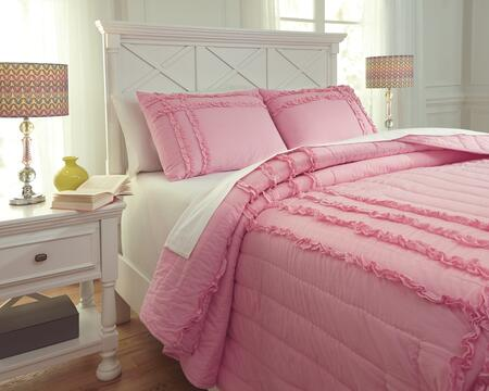 Signature Design by Ashley Megara Q48400 PC Size Quilt Set includes 1 Quilt and Standard Sham with Solid Design and Cotton Material in Pink Color