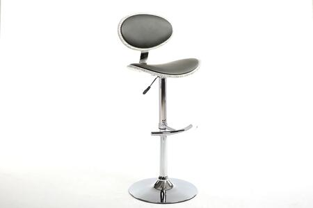 "Chintaly 1309-AS- 45"" Stool with Pneumatic Gas Lift, Curved Seat and PU Upholstery in"