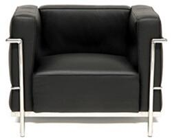 Fine Mod Imports FMI2202BLACK Grand Series Black Armchair with Stainless Steel Frame