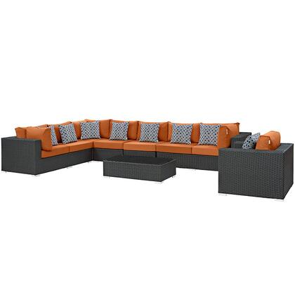 Modway Sojourn Collection EEI-2399-CHC- 7-Piece Outdoor Patio Sunbrella Sectional Set with Armchair, Coffee Table, Corner Section, Left Arm Loveseat, Right Arm Loveseat and 2 Armless Chairs in