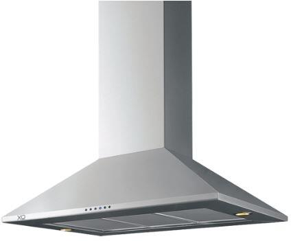 XO XOBIxxS Island Chimney Range Hood with 600 CFM Internal Blower, Halogen Lights, 3 Speed Electronic Controls and Convertible to Recirculating