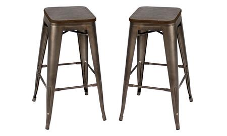 "LumiSource Oregon BS-TW-OR Set of (2) 30"" Stackable Barstool with Wood Seat, Metal Frame and Stretcher in"