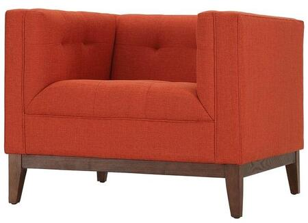 EdgeMod EM224WALBORA Huntington Series Fabric Lounge with Wood Frame in Burnt Orange