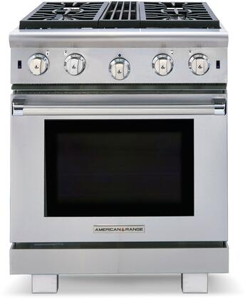 "American Range ARROB430N 30"" Performer Series Gas Freestanding Range with Open Burner Cooktop, 4.3 cu. ft. Primary Oven Capacity, in Stainless Steel"