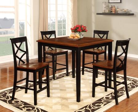 """Powell Harrison 15D2002 37"""" 5 Piece Chic Counter Set with One Square Table and Four Chairs in"""