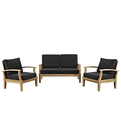 Modway Marina Collection 3 PC Outdoor Patio Sofa Set with Cushions, Teak Wood Construction, Water and UV Resistant in Natural Fine Sanded Finish