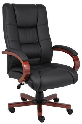 """Boss B8991 45"""" High Back Executive Wood Finished Chair with Heavy Duty Spring Tilt Mechanism, Pneumatic Gas Lift Seat Height Adjustment and Infinite Tilt Lock"""