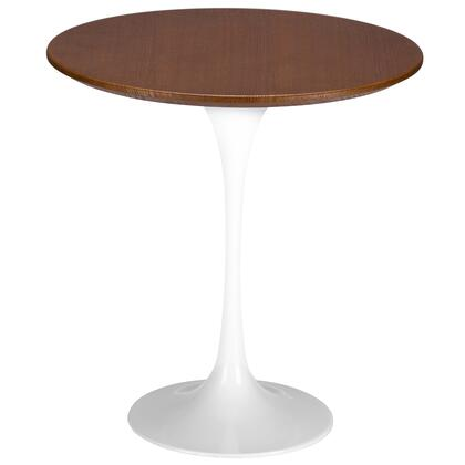 EdgeMod EM143WHI Daisy Series Mid-Century MDF Round None Drawers End Table
