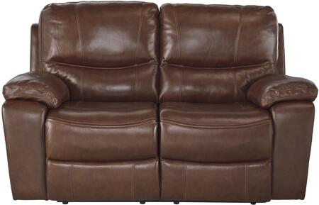 "Signature Design by Ashley U7290046 Penache 66"" Reclining Loveseat with Split Back Cushion, Piped Stitching, Metal Frame and Leather Upholstery in Saddle Color"