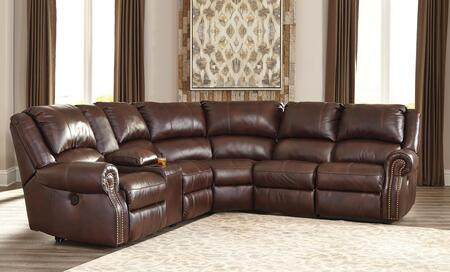Signature Design by Ashley Collinsville U72100SEC6PC 6-Piece Reclining Sectional Sofa with Left Arm Facing Recliner, Console with Storage, Armless Recliner, Wedge, Armless Chair and Right Arm Facing Recliner in Chestnut Color