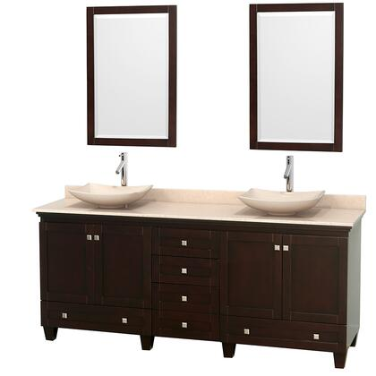 "Wyndham Collection Acclaim 80"" Double Bathroom Vanity with 4 Doors, 6 Drawers, 2 Mirrors, Brushed Chrome Hardware, White Carrera Marble Top and Arista White Carrera Marble Sinks in"