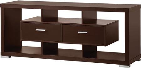 """Coaster Wall Units 70011 59"""" TV Console with 2 Large Drawers, Open Shelves Around, Metal Hardware and Polished Metal Legs in"""