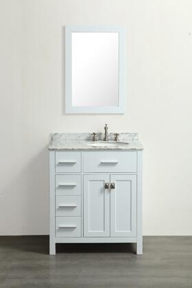 Bosconi SBR2104WHX Single Vanity in White with White Carrara Marble Top