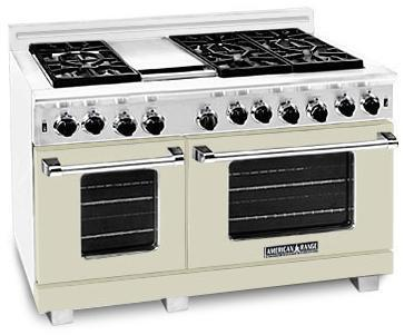 "American Range Heritage Classic Series ARR-486GRX 48"" Freestanding Natural Gas Range With 6 Sealed Burners, 4.8 Cu. Ft., Convection Ovens, 12"" Grill, Infrared Broiler, & Electronic Ignition, In"
