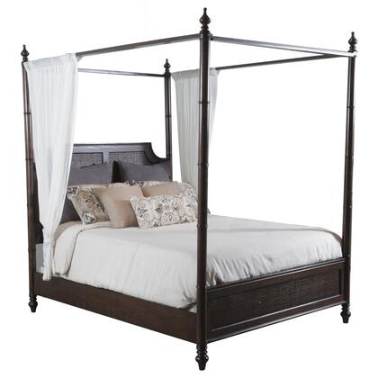 Powell Passages Collection 14BO7024XCNC Canopy Bed Cane with Turned Legs, Headboard & Footboard with Cane Centers and Spindle Posts in Akzo Nobel Finish