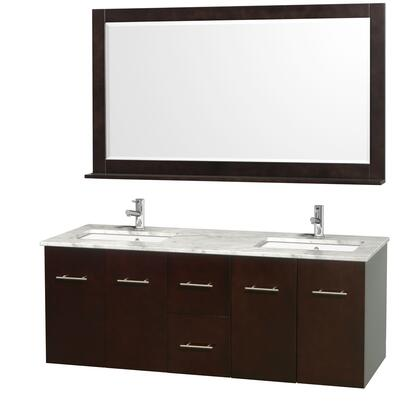 """Wyndham Collection WCVW00960D 60"""" Double Wall Mount Vanity with Square Undermount White Porcelain Sink, 2 Drawers, 4 Doors, and Includes Matching Mirror in"""